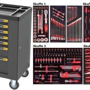 Værktøjsvogne med værktøj